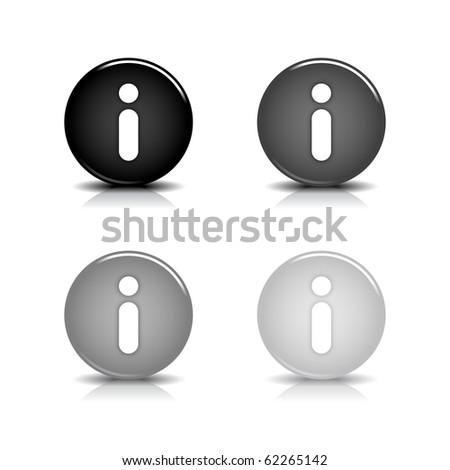Glossy web 2.0 button with information sign. Gray round shapes with reflection and shadow on white background. 10 eps - stock vector