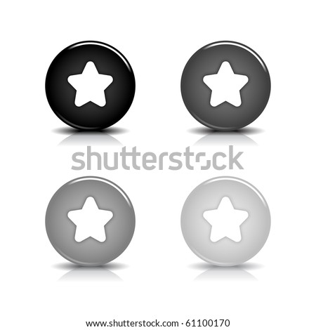 Glossy web 2.0 button with white star symbol. Black and gray round shapes with shadow and reflection on white background - stock vector