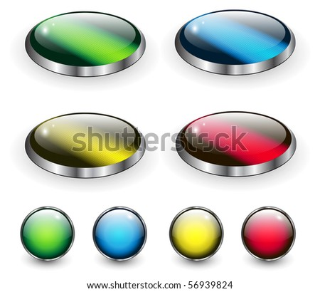 glossy web buttons collection, vector.