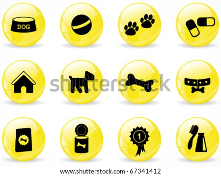 Glossy web buttons, dog icons - stock vector