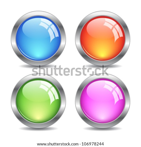 Glossy web buttons set, eps10 vector illustration - stock vector