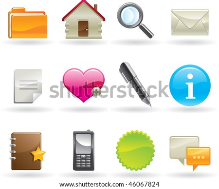 Glossy web icons set. vector - stock vector
