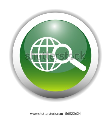 Glossy Web Search Sign Button - stock vector
