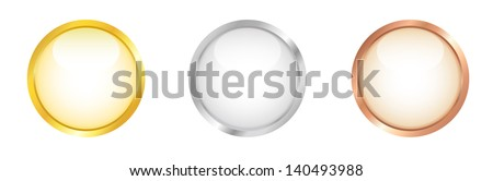 Glossy white buttons with golden, silver and bronze border. Vector illustration. - stock vector