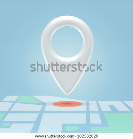 Glossy white navigation point hanging in light blue space over map details - stock vector