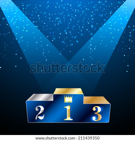 Glossy winners podium with projector lights and confetti, vector illustration - stock vector