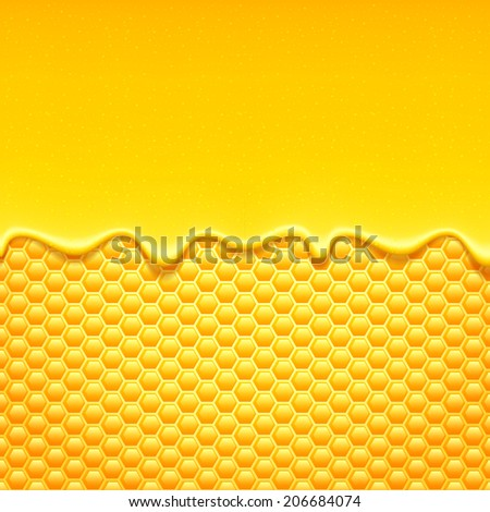 Glossy yellow background with honeycomb and sweet honey drips.. - stock vector