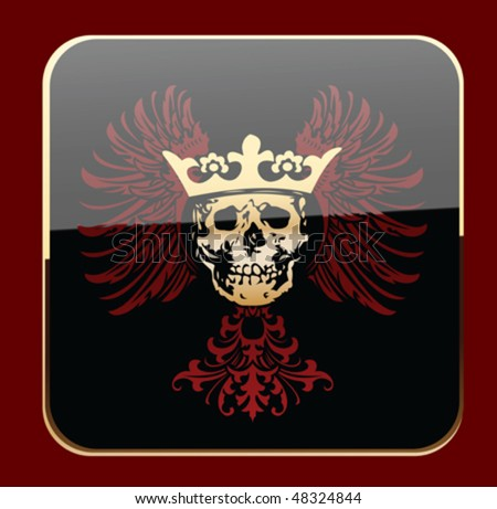 Glow Black Crowned Skull on Red Wings. Vector Illustration. - stock vector