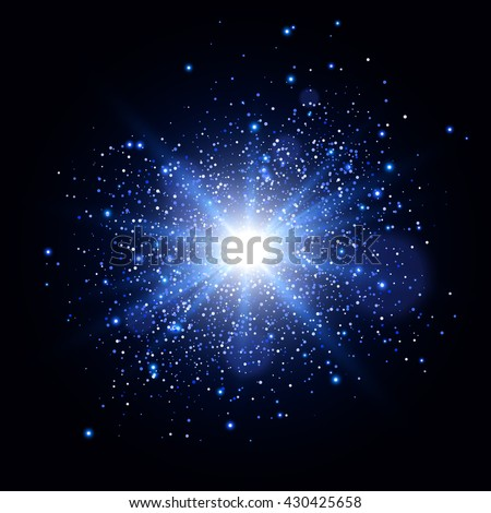 Glow light effect. Glowing sparks. Star burst with sparkles. Vector light effect
