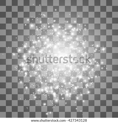 Glow light effect. Stardust on a transparent background. Lights on transparent background. Vector illustration.