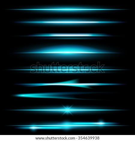 Glow lights set - stock vector