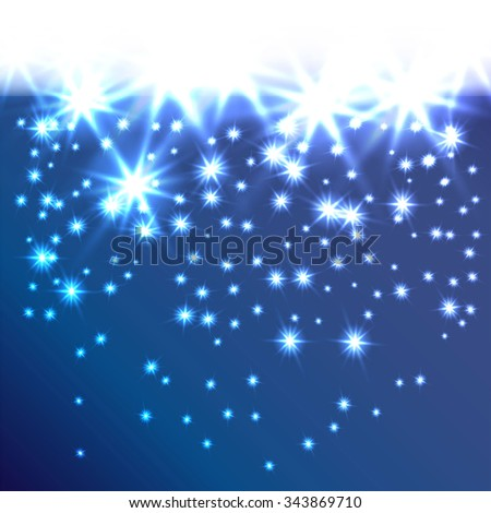 Glow snowflakes or stars fall down. Decorative background for holiday invitations, cards or web banner. A smooth transition from white. It can be used as a border. Modern vector concept. Let it snow. - stock vector