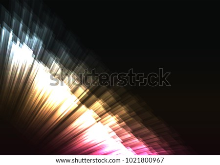 glow stripe overlap in dark background, multicolor wall bar layer backdrop, technology template, vector illustration