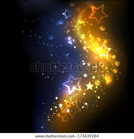 glowing , abstract , golden with blue background, decorated with stars - stock vector
