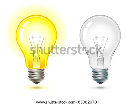 glowing and turned off electric light bulb, vector illustration. - stock vector