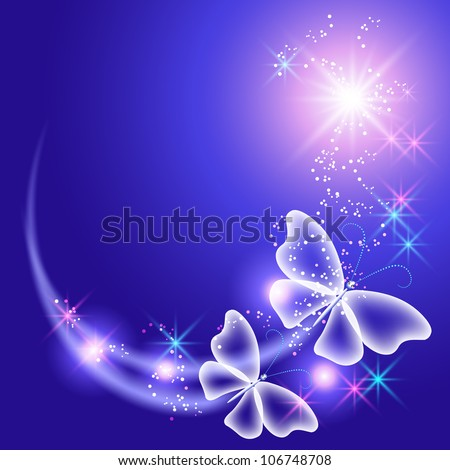 Glowing background with butterflies and stars - stock vector