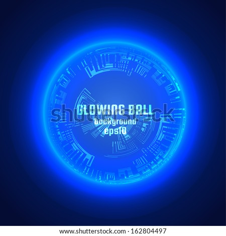 Glowing ball background. Vector eps10