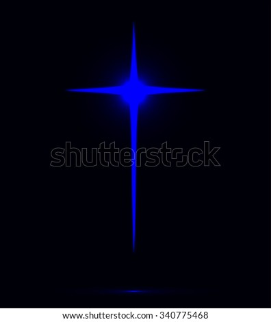 Glowing blue Christian cross vector illustration isolated over black background. Holy cross drawing symbolizing Jesus Christ  - stock vector