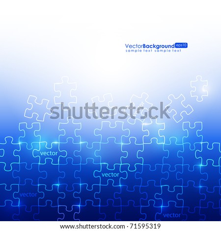 Glowing Blue Puzzle Vector Background