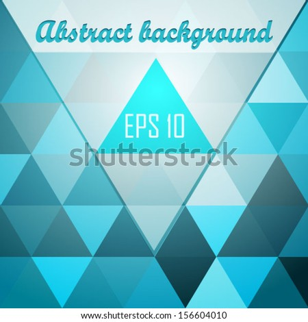 glowing blue triangle background with text field - stock vector