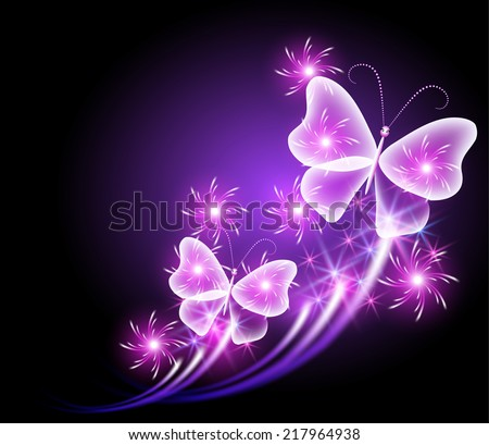 Glowing butterflies with sparkle stars - stock vector