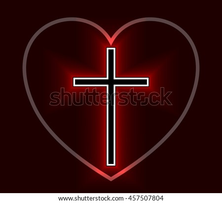 Glowing Christian Cross and Heart isolated over black background. Fire cross, holy cross drawing. Vector illustration. - stock vector