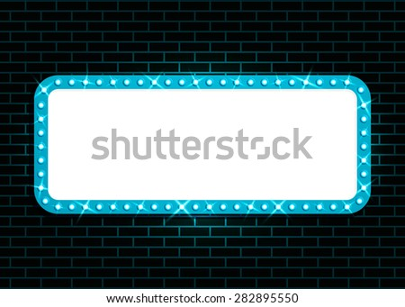 Glowing cinema signboard with light bulbs on the contour. Isolated on black wall background. Vector illustration, eps 10. - stock vector