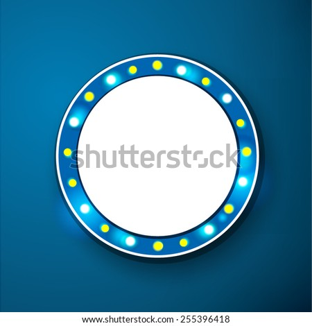 Glowing cinema signboard with light bulbs on the contour vector  - stock vector