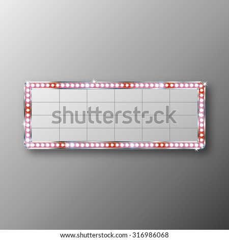Glowing cinema signboard with light bulbs on the contour Vector illustration - stock vector