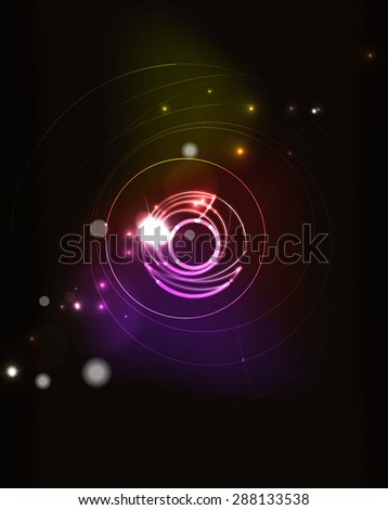 Glowing circle and blending colors in dark space. Vector illustration. Abstract background - stock vector