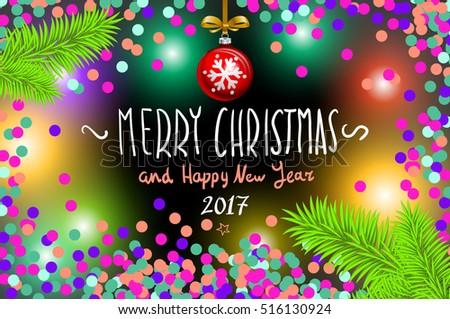 Glowing Color Christmas Lights Wreath Xmas Stock Illustration
