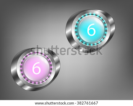 glowing colored glass buttons on a gray background