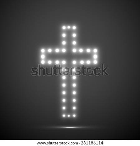Glowing cross. Christian Symbol. Vector illustration. Eps 10 - stock vector