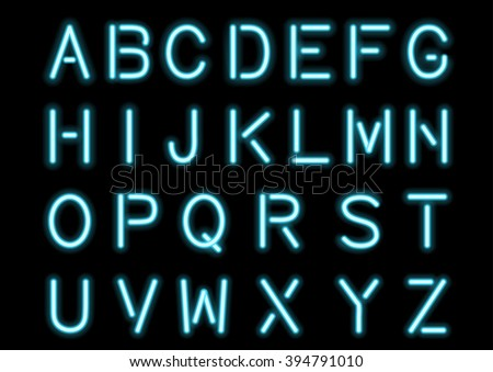 Glowing Cyan Blue Neon Alphabet isolated and transparent. Custom font for design. Vector eps10. - stock vector