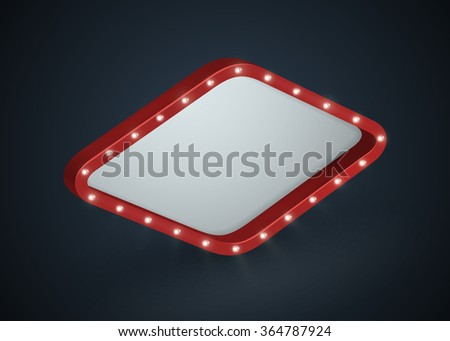 Glowing 3D cinema signboard with light bulbs on the contour. Isolated on black background. Vector illustration, eps 10. - stock vector