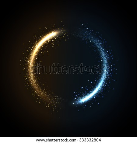 glowing dust gold and blue - stock vector