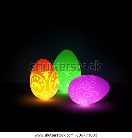 Squishy Glowing Egg : Glowing Easter Eggs Neon Ornaments On Stock Vector 606773033 - Shutterstock