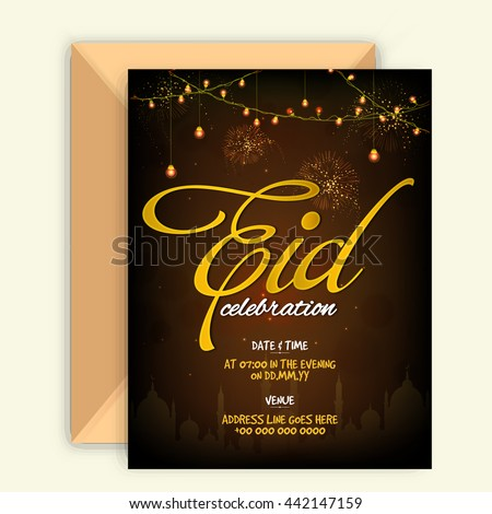 Glowing elegant invitation card envelope golden stock vector glowing elegant invitation card with envelope and golden text eid on mosque silhouetted sparkling brown stopboris Images
