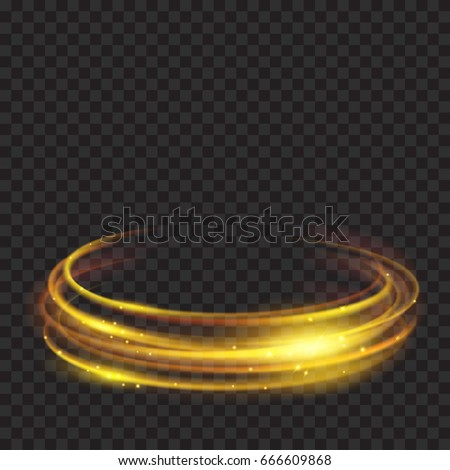 glowing fire rings with glitter in gold colors on transparent background light effects for - Fire Rings