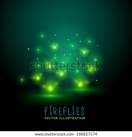 Glowing Fireflies. A group of glowing fireflies at night, vector illustration - stock vector
