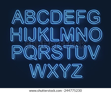 Glowing font, futuristic design - stock vector