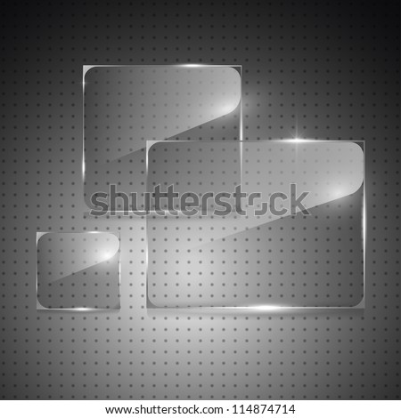 Glowing glass panels on a metal background. Vector. - stock vector