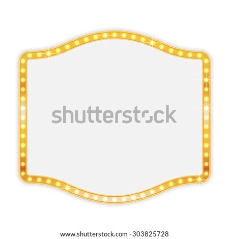 Glowing gold shining retro light banner on white background. Retro vintage frame vector illustration - stock vector