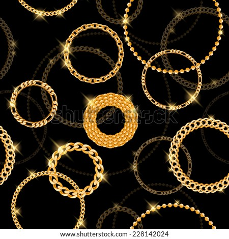 Glowing golden chain circles with sparkles on black background. Seamless pattern. - stock vector