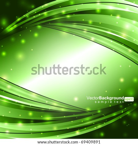 Glowing Green Lines - Vector Background