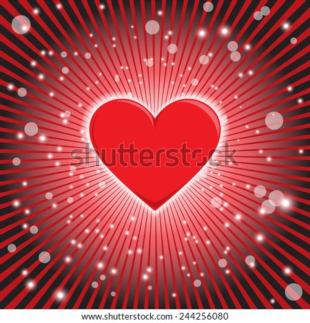 Glowing Heart - stock vector