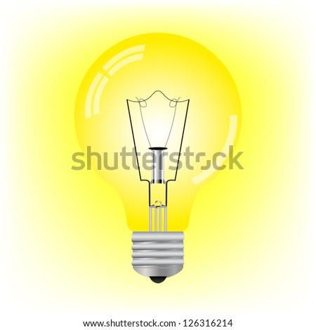 glowing light bulb - stock vector