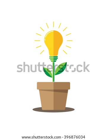Glowing light bulb plant coming out of flower pot. Business growth concept with idea light bulb - vector illustration. Flat design icon. - stock vector
