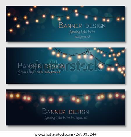 Glowing light bulbs design. Vector banners set. Website header template. - stock vector