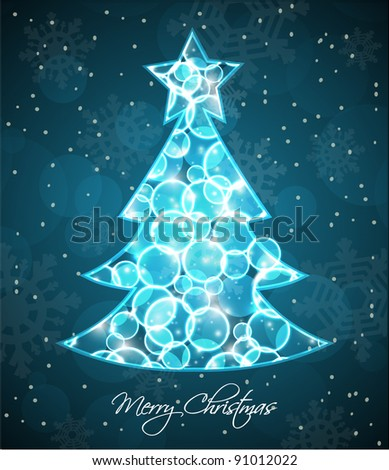 Glowing Light Dots Vector Background. Christmas and New Years card. - stock vector